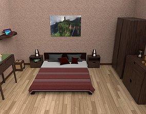 3D asset low-poly Bedroom