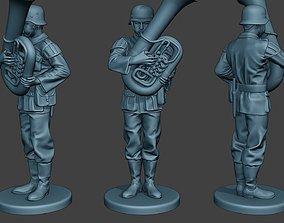 German musician soldier ww2 Stand bass horn 3D print model