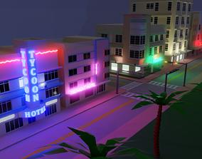 3D asset Miami Beach buildings