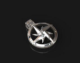 silver 3d Printable Shuriken Pendant