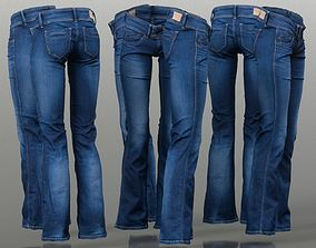 3D asset Dark Blue Jeans Long Trousers