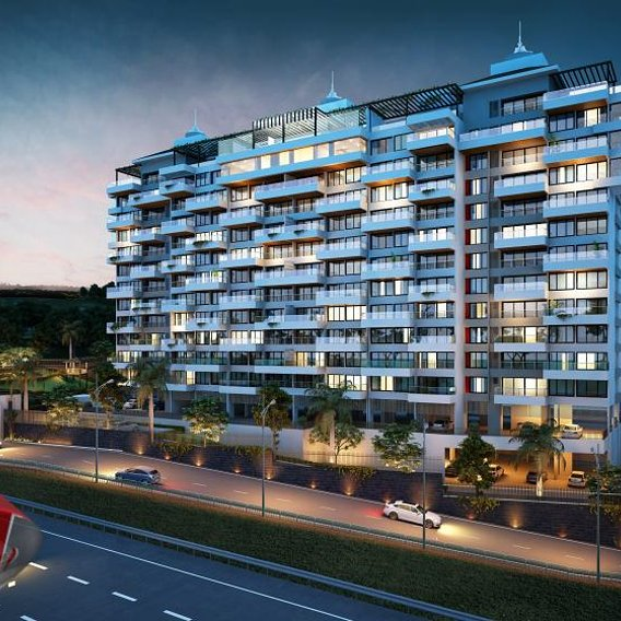 exterior elevation rendering of modern and luxurious apartments