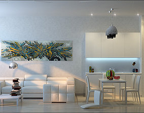interior Living Room and Kitchen 3D model