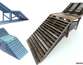 Old Wood Stairs 3D asset