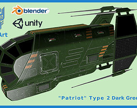 3D asset Spaceship Patriot Type 2 Dark Green