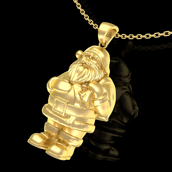 Santa Claus Pendant jewelry Gold 3D print model
