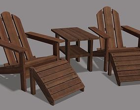 3D model Adirondack lawn set