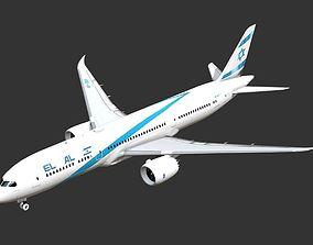 Commercial jet plane El Al Boeing 787 Dreamliner 3D model