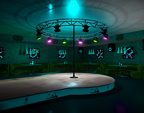Nightclub - interior and props 3D asset low-poly
