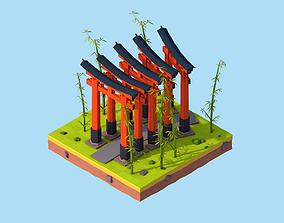 Cartoon Lowpoly Fushimi Inari-Taisha Shrine 3D model