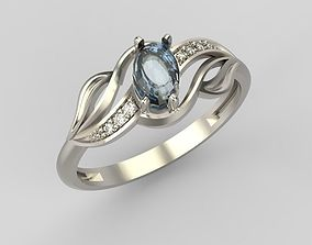Ring with gem and diamonds 3D print model