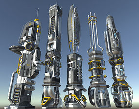 3D model SciFi Buildings - Animated and modular