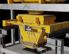 3D asset Rusty Concrete Casting Machine Factory Flying