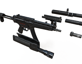 3D model rigged MP5 Game Ready Kit
