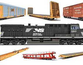 Norfolk Southern Freight Train 3D model