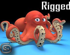 3D model rigged cartoon Octopus