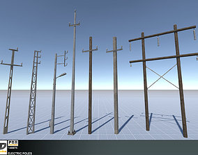 3D model Electric Poles Set