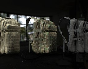 Tactical backpack 3 Colors 3D asset game-ready