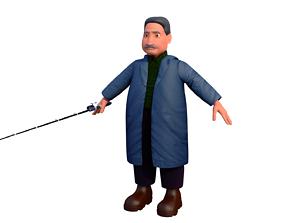 3D fisherman H cartoon rigged character