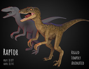 Raptor 3d lowpoly model rigged animated