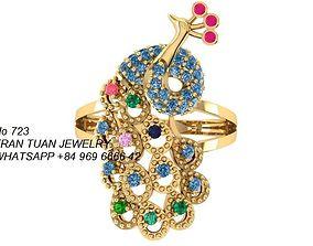 723 peacock diamond ring 3D printable model