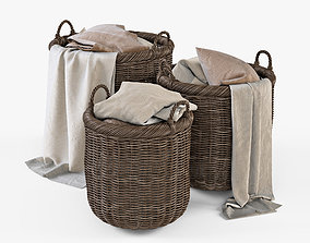 Wicker Basket 7 Walnut Brown with Cloth 3D model