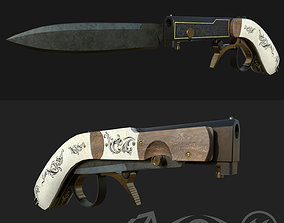 Pistol Gun Knife 3D model