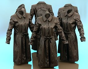 Long Black Leather Underworld Coat Closed 3D asset