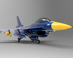 3D asset Jet Blue F-16