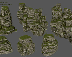 mossy rocks 3D asset game-ready