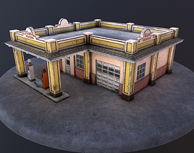 3D asset Old gas station and old gas pump