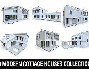 3D asset Modern Cottage Houses- 6 Pack