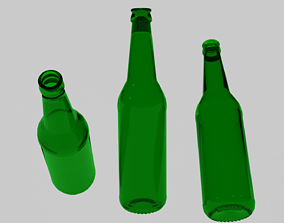 3D empty standard beer bottle without cap and realtime