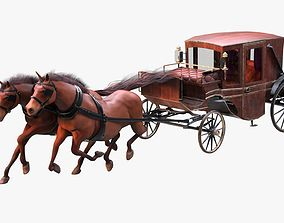 Carriage with Horses 3D model