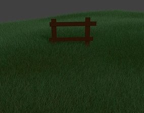 Grass field with wooden fence 3D