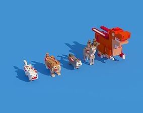3D asset Low Poly Zombie Animals Crossy Road