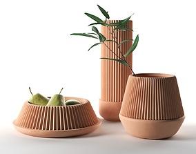 ceramic 3D model Pleated Planters