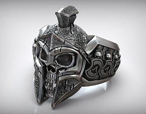 3D print model Greece Sparta Skull Helmet Silver Ring