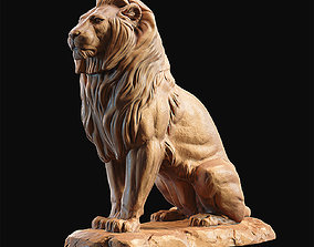 3D print model Lion sitting on a stone