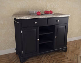 Kitchen Cart with Gray Granite Top 3D asset