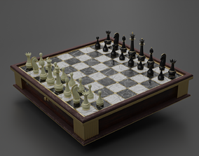 chess board 3D model animated