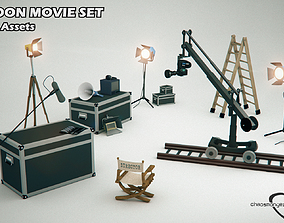 Cartoon Movie Set Film Studio Pack 3D model rigged