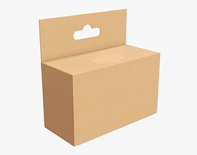 Hanging cardboard box retail 01 3D model