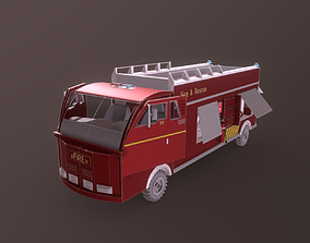Low Poly Emergency Fire Truck 3D asset
