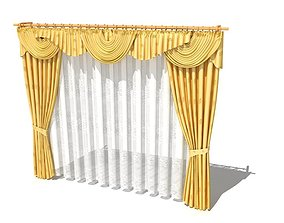 3D Curtain With Valance And Sheer