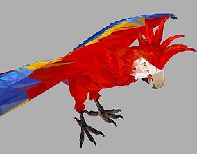 3D model Red Parrot Low Polygon Art Bird Animal