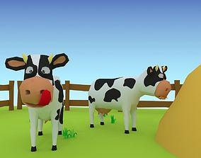 3D model Cartoon cow low poly