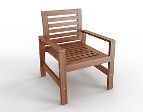 APPLARO Chair with armrests outdoor brown stained 3D model