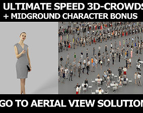 3d crowds midground Beauty elegant pointing woman