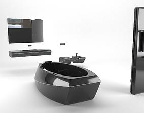 Futuristic Bathroom Furniture Set 3D